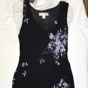 Silk dress, black with blue and purple floral